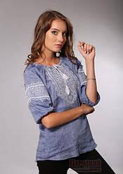 Модна жіноча вишиванка  в стилі джинс