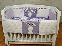 """Детский постельный комплект  Asik  """"Кролик"""" с плюшем Minky, фиолетовый (5-260), фото 1"""