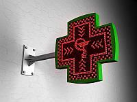 LED Крест одноцветный фигурный, 640х640 RED мм (Вид: Двухсторонний;  Цвет диодов: Белые диоды; Цвет корпуса: Белый корпус; Цвет стального каркаса: