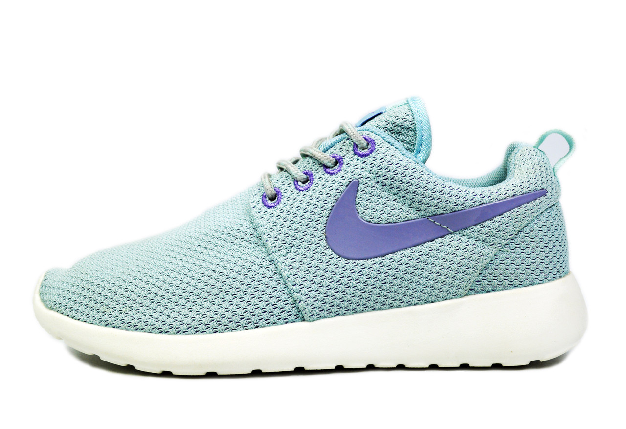 Голубые Кроссовки женские Nike Roshe Run IT.Jade/ Purple для спорта, активного отдыха