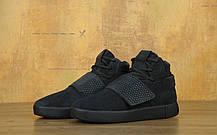 Мужские кроссовки Adidas Tubular Invader Strap All Black топ реплика, фото 2