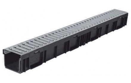 Лоток ЛВ-10.11,5.9,5 LIGHT DN95 пластиковый с решеткой стальной, кл.A (комплект)