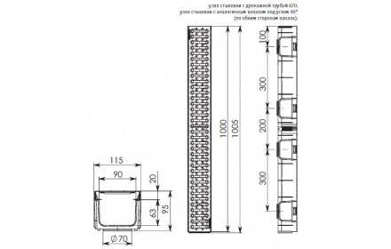 Лоток ЛВ-10.11,5.9,5 LIGHT DN95 пластиковый с решеткой стальной, кл.A (комплект), фото 2