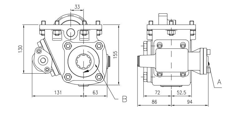 Коробка відбору потужності FHER ZF одностороння, пневматика
