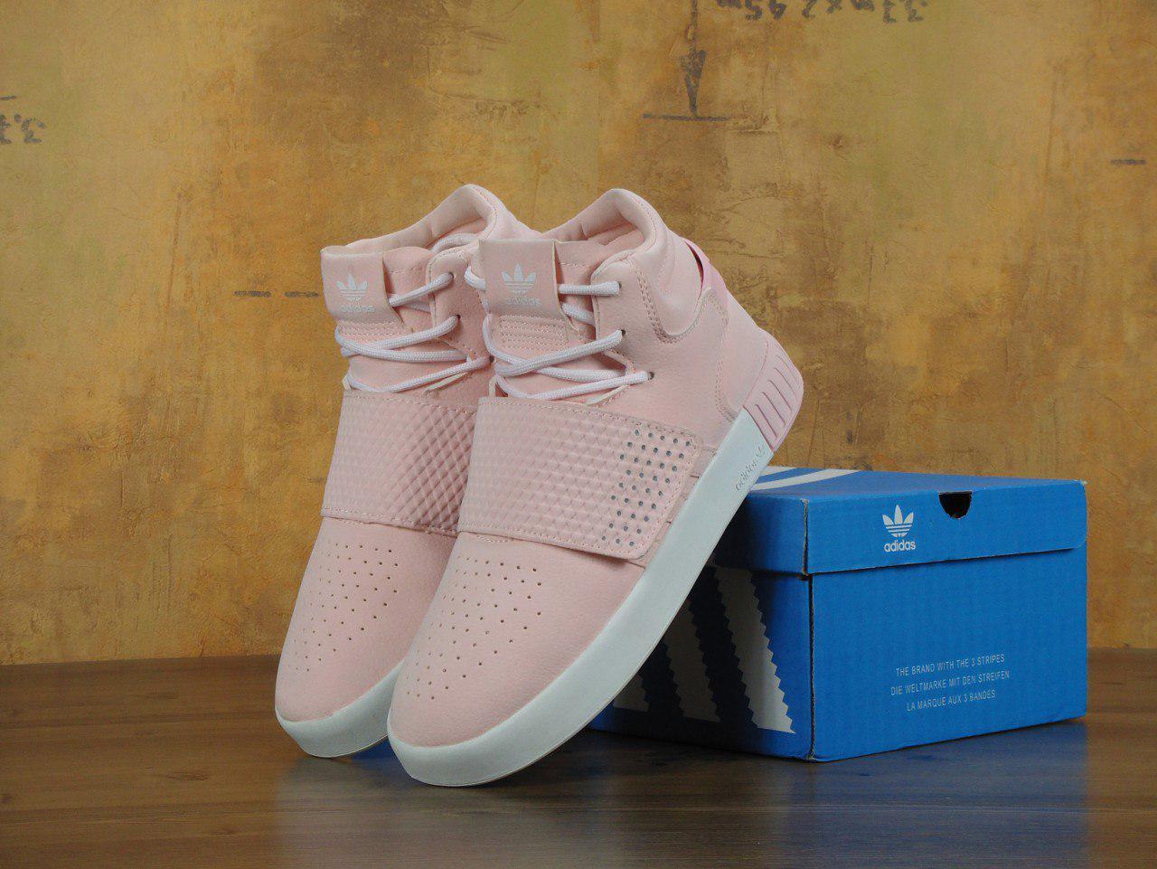Кроссовки Adidas Tubular Invader Strap Pink розовые топ реплика