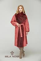 Пальто мех чернобурки красное