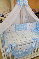 Детский постельный комплект  Asik из 8 эл. со слонами, зигзагами, звёздочками №222, голубой, фото 1