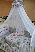"""Детский постельный комплект  Asik из 8 эл """"Звёзды на сером с совушками на белом"""" №251, серый, фото 1"""