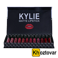 Набор помад Kylie Jenner Black Butterfly Liquid Lipstick Kit 12 шт