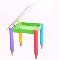Детский стол трансформер с пеналом 60см на 60см Карандаши