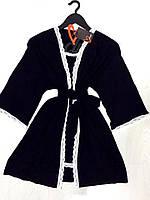Женский домашний комплект из вискозы, черный халат и пеньюар