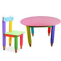 Комплект круглый стол и стул Карандаши