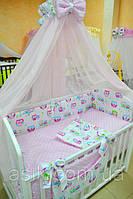 Детский постельный комплект  Asik из 8 эл с малиновыми совами и розовым горошком №229 , фото 1