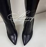 Женские черные кожаные сапоги на шпильке, фото 3