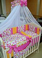 """Детский постельный комплект  Asik из 8 эл """"Розовые жирафы"""" №255, розовый, фото 1"""