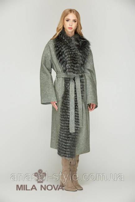 Пальто мех чернобурки хаки