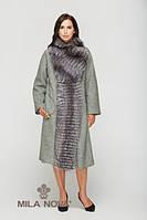 Пальто серый мех чернобурки хаки