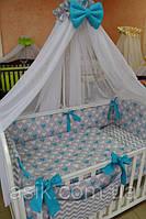Детский постельный комплект  Asik из 8 эл с сердечками №226, бело-бирюзовый, фото 1