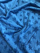 Ткань плюшевая Minky Stars темная бирюза звезды