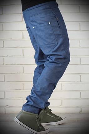 Стильні чоловічі джинси з цупкої тканини сині, фото 2