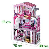Кукольный домик,Дом для кукол барби Miami + лифт+12элем.мебели+кукла в подарок!, фото 1