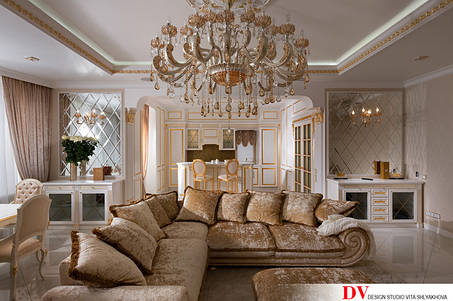 Предметы интерьера и декора лампы, светильники подвесные, зеркала.