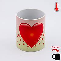 Чашка хамелеон Красные сердечки ко Дню Влюбленных, фото 1