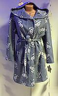 Халат жіночий флісовий на запах з капюшоном, фото 1