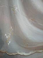Тюль Листик белая с молочной вышивкой ,снизу зуб,высота 2,80 м.