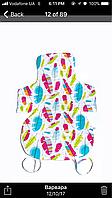 Матрасик в стульчик для кормления/коляску (разноцветные перья/серый со звездами)