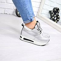 Кроссовки женские Love на шнурках серебро 4094, спортивная обувь