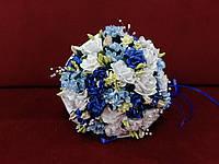 Свадебный букет-дублер белый с голубым и синим