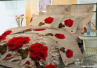 Полуторный комплект постельного 150х220 из полиэстера Розы (беж)