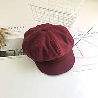 Модный женский шерстяной кашкет кепка цвета марсала