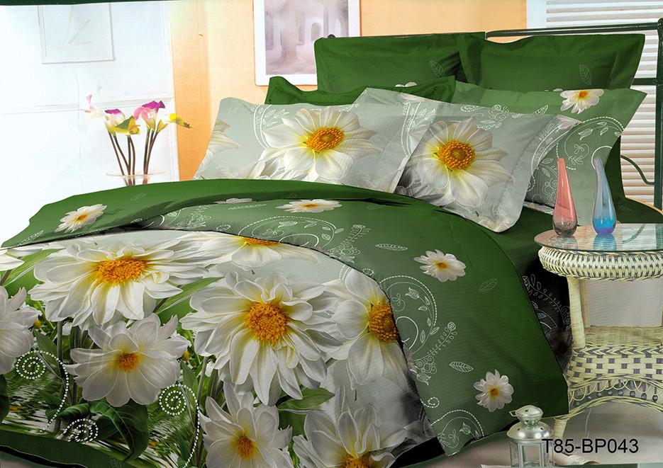 Двухспальный комплект постельного 180х220 из полиэстера Хризантемы