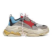 Женские кроссовки для спорта и туризма Balenciaga Triple S - Grey\Red\Blue, материал - замша