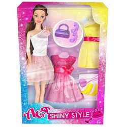"""Кукла Ася шарнирная """"Блестящий стиль"""",28 см, брюнетка.Кукла с аксессуарами одежды.Игрушка кукла."""