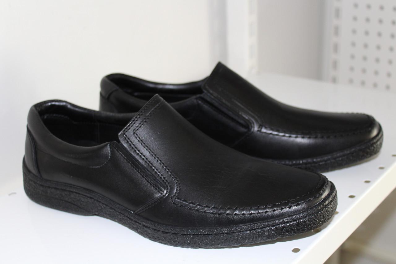 905eb1e6a0756c Туфли KONORS мужские черные кожанные на резинке полиуретановая подошва 42,  43, 44р-р