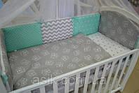 Детский постельный комплект  Asik из 8 эл мишки на сером с мятным горошком и звёздами №218, серо-мятный, фото 1