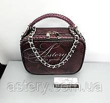 Женская бордовая сумочка STELLINA из питона на цепочке