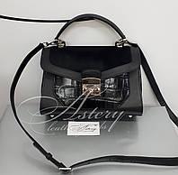 Женская черная кожаная классическая сумка NORA с отделкой из меха пони