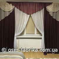Качественный комплект штор с ламбрекеном и тюлем