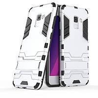 Ударопрочный чехол-подставка Transformer для Samsung A530 Galaxy A8 (2018) с мощной защитой корпуса Серебряный / Satin Silver