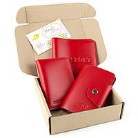 Подарочный набор №2 (9 цветов): обложка на паспорт + обложка на документы + картхолдер красный