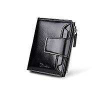 Кошелек портмоне мужской кожаный Deelfel  (черный), фото 1