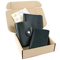 Подарочный набор №2: обложка на паспорт + обложка на документы + картхолдер (темно-зеленый), фото 1