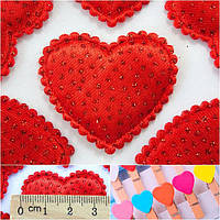 Тканевый декор Сердце-подушечка блестки Размер 3,5 х 3 см.