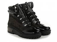 Зимние кожаные лаковые ботинки женские, из натуральной кожи, натуральная кожа