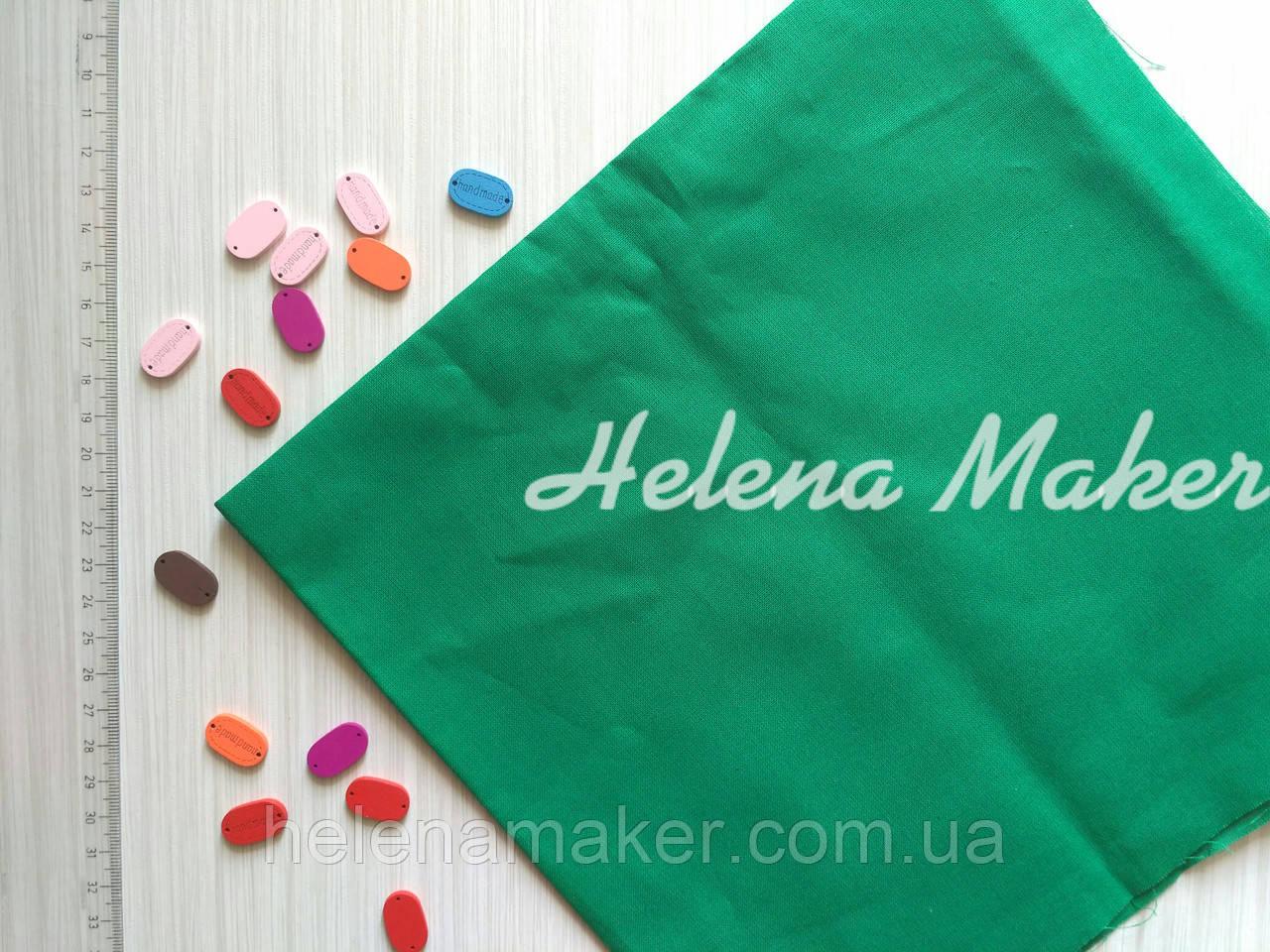 Відріз бавовняної тканини в горошок зелений 50*50 см