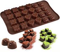Форма для шоколада День Валентина Сердце Подарок Роза, фото 1